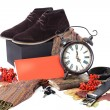 Black male shoes with clock — Stok fotoğraf
