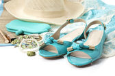 Female accessories with turquoise shoes — Stock Photo
