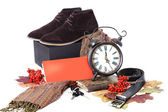 Black male shoes with clock — Stock Photo