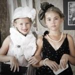 Vintage style portrait of children — Stock Photo