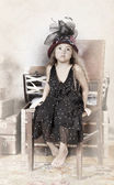 Little girl vintage portrait — Stock Photo