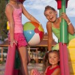 Three girls at the playground — Stock Photo