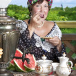 Portrait of Caucasian woman with tea — Stock Photo