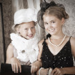 Two little girls. Vintage style — Stock Photo
