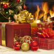 Christmas gifts closeup — Stock Photo