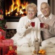 Senior couple celebrating Christmas together — Stok fotoğraf