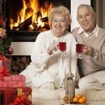 Senior couple celebrating Christmas together — Photo