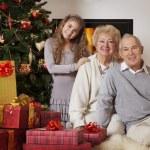 Grandparents and granddaughter celebrating Christmas — Foto de Stock