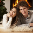 Young couple celebrating Christmas together — Stock Photo