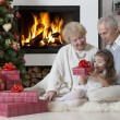 Time for opening gifts — Stock Photo