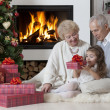 Stock Photo: Time for opening gifts