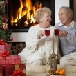 Senior couple celebrating Christmas — Stock Photo