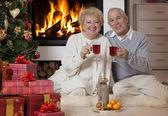 Mature couple celebrating Christmas — Stock Photo