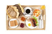 Straight shot of breakfast tray — Stock Photo