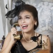 Pin Up Girl Talking on Telephone — Stock Photo