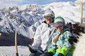 Família de esqui — Foto Stock