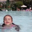 Little girl having fun in a swimming pool — Stock Video