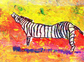 Children's drawing of zebra outdoors — Stock Photo