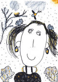 Child's crayon drawing of a girl — Stock Photo