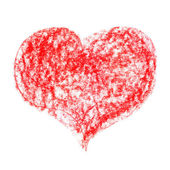 Red Pastel Crayon Heart — Stock Photo