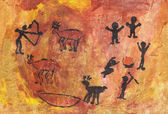 Rock paintings of people and animals — Stock Photo