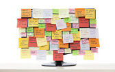Monitor with post-it notes — Stock Photo