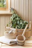 Detail of sauna interior — Stock Photo