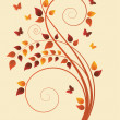 Magic autumn tree with butterflies and space for text -  
