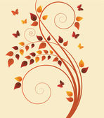 Magic autumn tree with butterflies and space for text — Stock Vector