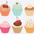 Collection of vector cupcakes - Stok Vektör