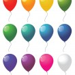 Collection of colorful vector balloons - Stok Vektör