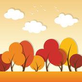 Wektor jesień krajobraz aplikacja papieru — Wektor stockowy