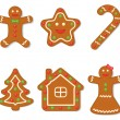 Vector collection of gingerbread figures — Stock Vector