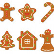 Stock Vector: Vector collection of gingerbread figures
