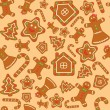 Seamless vector background with gingerbread figures — Stok Vektör