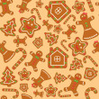 Stock Vector: Seamless vector background with gingerbread figures
