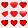 Red vector heart collection — Imagens vectoriais em stock