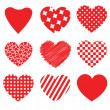 Red vector heart collection — Stockvectorbeeld
