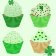 Collection of vector St. Patrick's cupcakes — Stock Vector