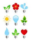 Zestaw ekologiczny żarówki kreatywnych elegancja — Wektor stockowy