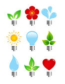 Set de bombillas ecológicas elegancia creativa — Vector de stock