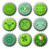 Collection of St. Patrick's Day vector bottle caps — Stok Vektör