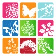 Collection of vector leaves, sakura branch, Butterflies and flowers - Stock Vector