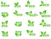 Set of green eco elements — Stock Vector