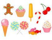 Insieme vettoriale di dolci — Vettoriale Stock