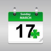 Icône du 17 mars dans un calendrier — Vecteur