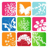 Collection of vector leaves, sakura branch, Butterflies and flowers — Stock Vector