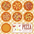 Pizza. vector set — Stock Vector