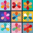Set of four patchwork flowers — Image vectorielle