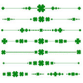 Collection of vector st. patrick's monograms with shamrock — Stok Vektör